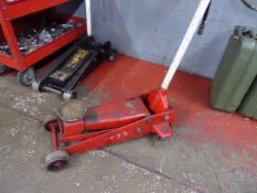 Red and white trolley jack