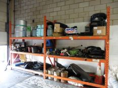 Contents of the boltless shelf racking to include used parts, car mats, motorcycle tyres, loading