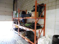 2 bays of orange boltless shelf racking, 9ft uprights (excluding contents)
