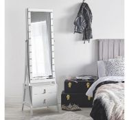 (RR34) White LED Storage Mirror with Drawers Full length mirror framed by 22 LED lights and fe... (