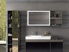 (RR12) Geberit Citterio Illuminated Mirror with Shelf Unit. RRP £981.99. With left/Right stora... (