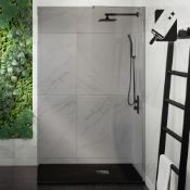 (RR6) 1200mm - 8mm Designer EasyClean Smoked Glass Wetroom Panel. RRP £499.99. Stylish smoked ... (