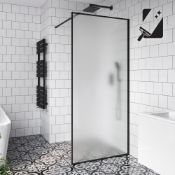 (RR4) 1000mm - 10mm Black Frame Frosted Glass Shower Screen. RRP £499.99. Manufactured from ... (