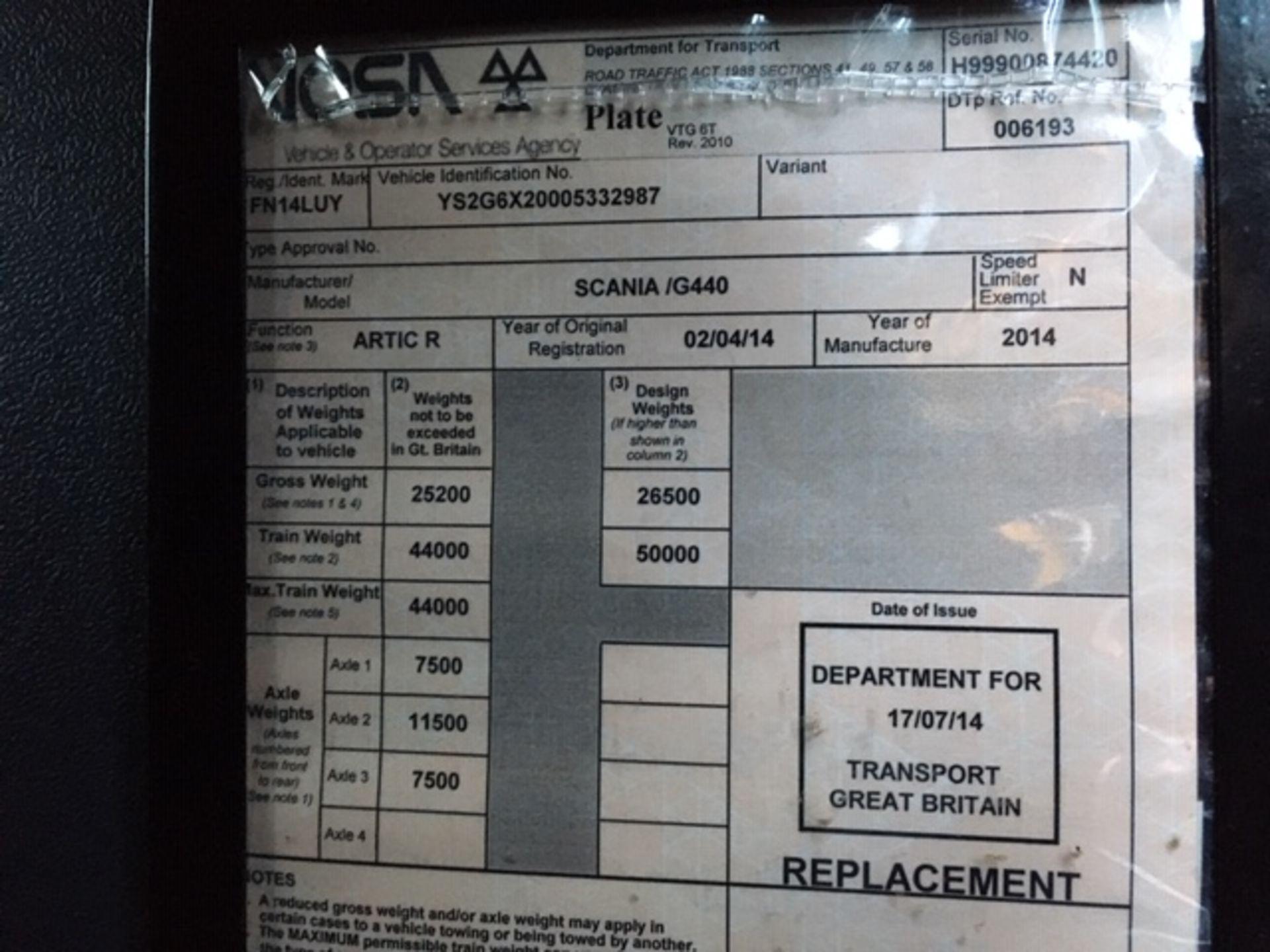 Lot 55 - 2014 SCANIA G440 HIGHLINE T/UNIT 6X2 REAR LIFT AXLE