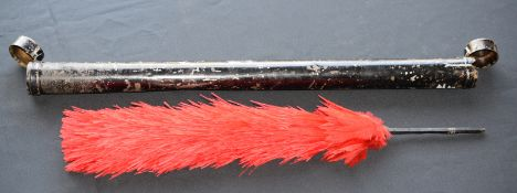 Large Military Red Feather Plume In Container