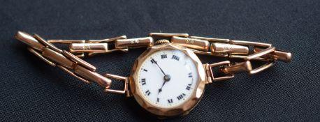 9ct Gold Ladies Swiss Watch On 9ct Expanding Bracelet