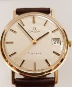 9ct Gold Omega Geneve Manual Wind With Box Serviced
