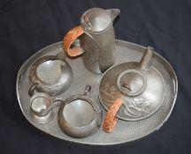 Liberty & Co Tudric Pewter Tea/Coffee Set On Tray