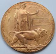 WW1 Bronze Death Plaque In Original Box