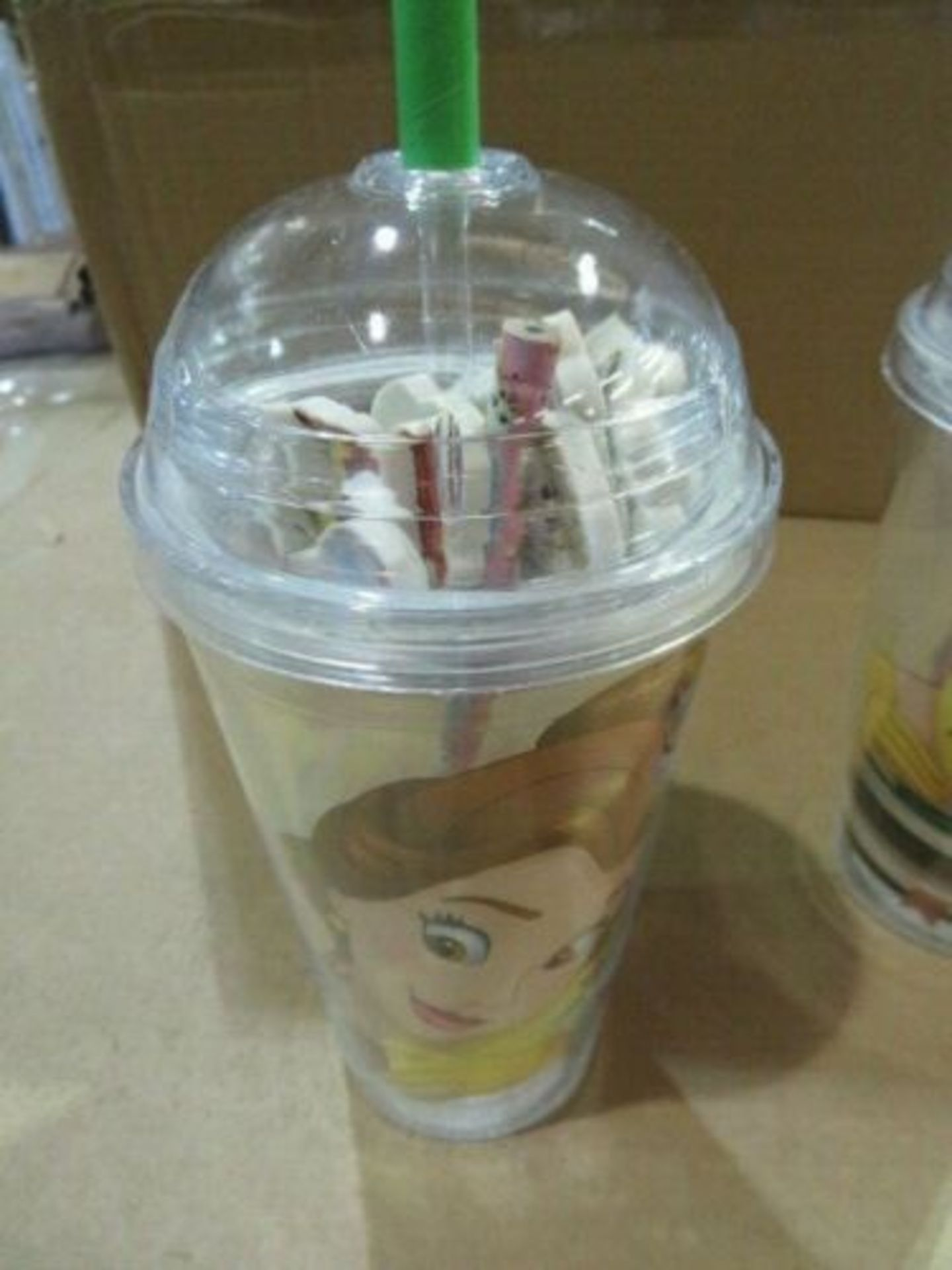 Lot 326 - WHOLESALE JOB LOT 24 X NEW DISNEY BEAUTY AND THE BEAST CUP WITH ERASERS & PENCIL. WHOLESALE JOB...
