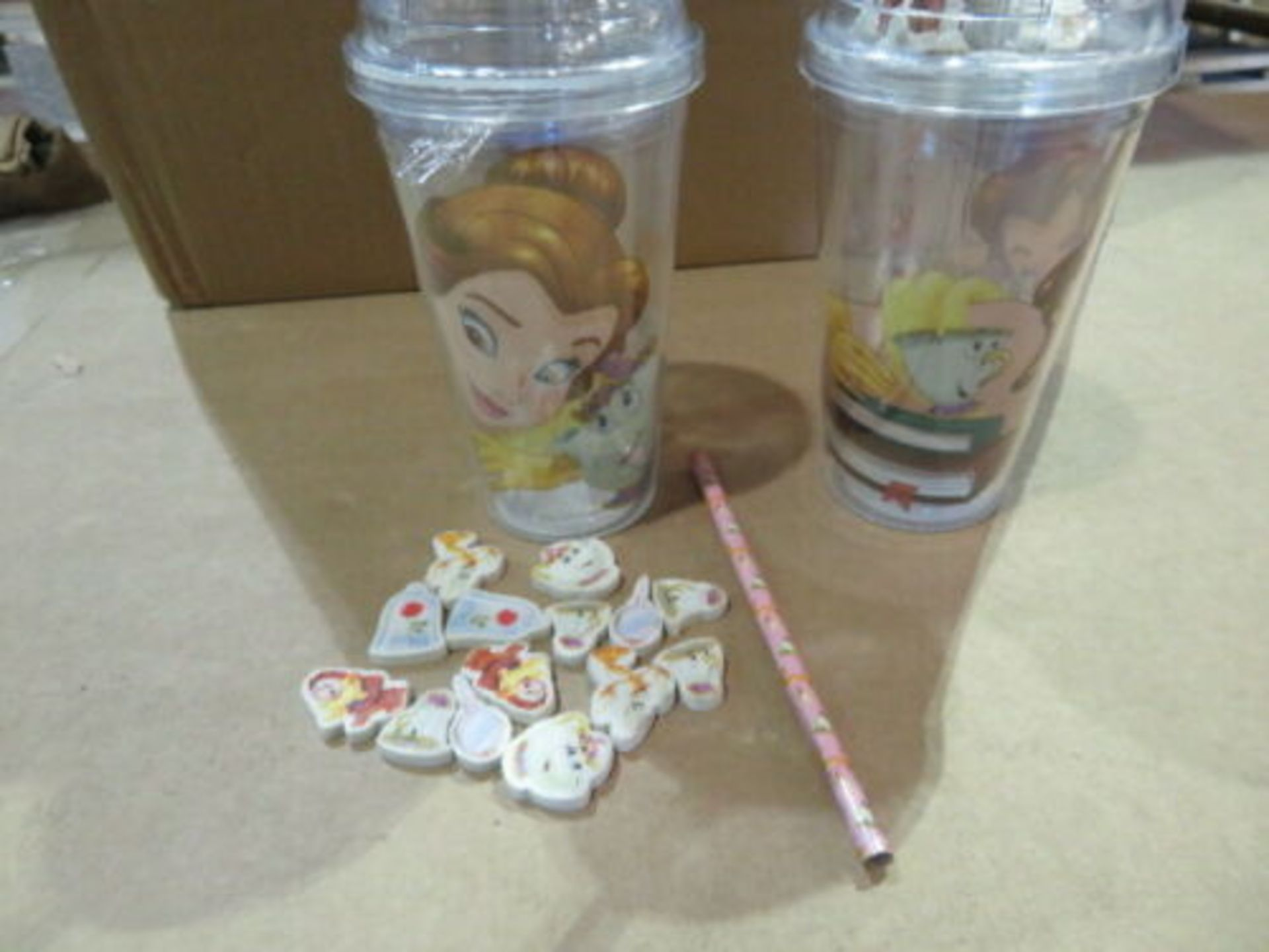 Lot 325 - WHOLESALE JOB LOT 24 X NEW DISNEY BEAUTY AND THE BEAST CUP WITH ERASERS & PENCIL. WHOLESALE JOB...