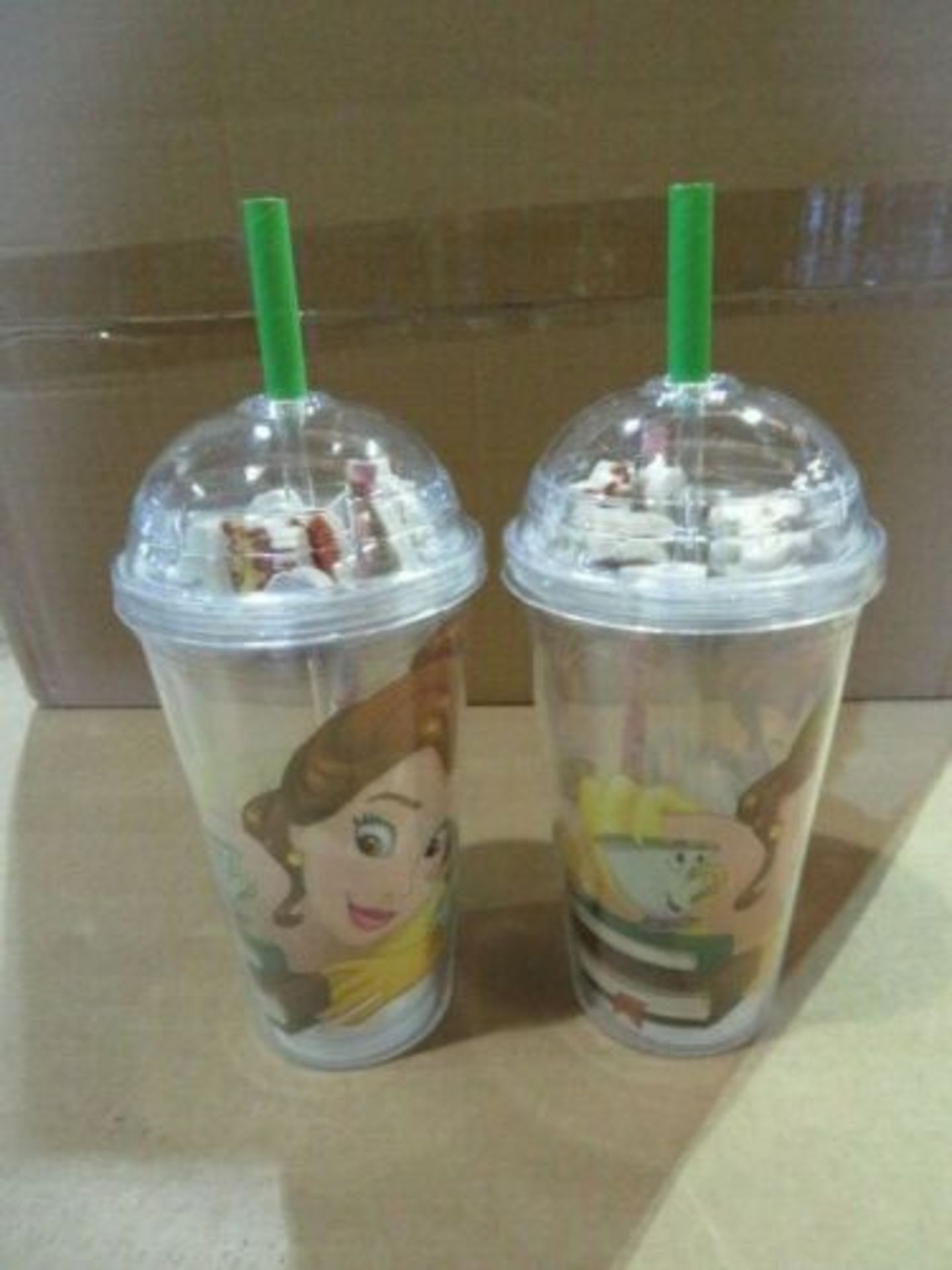 Lot 323 - WHOLESALE JOB LOT 24 X NEW DISNEY BEAUTY AND THE BEAST CUP WITH ERASERS & PENCIL. WHOLESALE JOB...