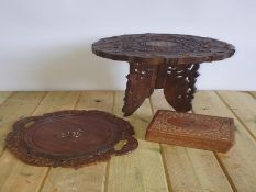 Indian Carved Table, Plate & Box