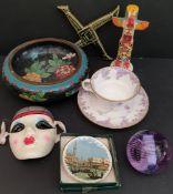 Vintage Assorted Ceramics Includes Wedgwood, Cloisonné & Thrifco