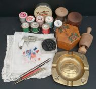 Antique Vintage Parcel of Treen, Sewing Items Pig Ashtray etc