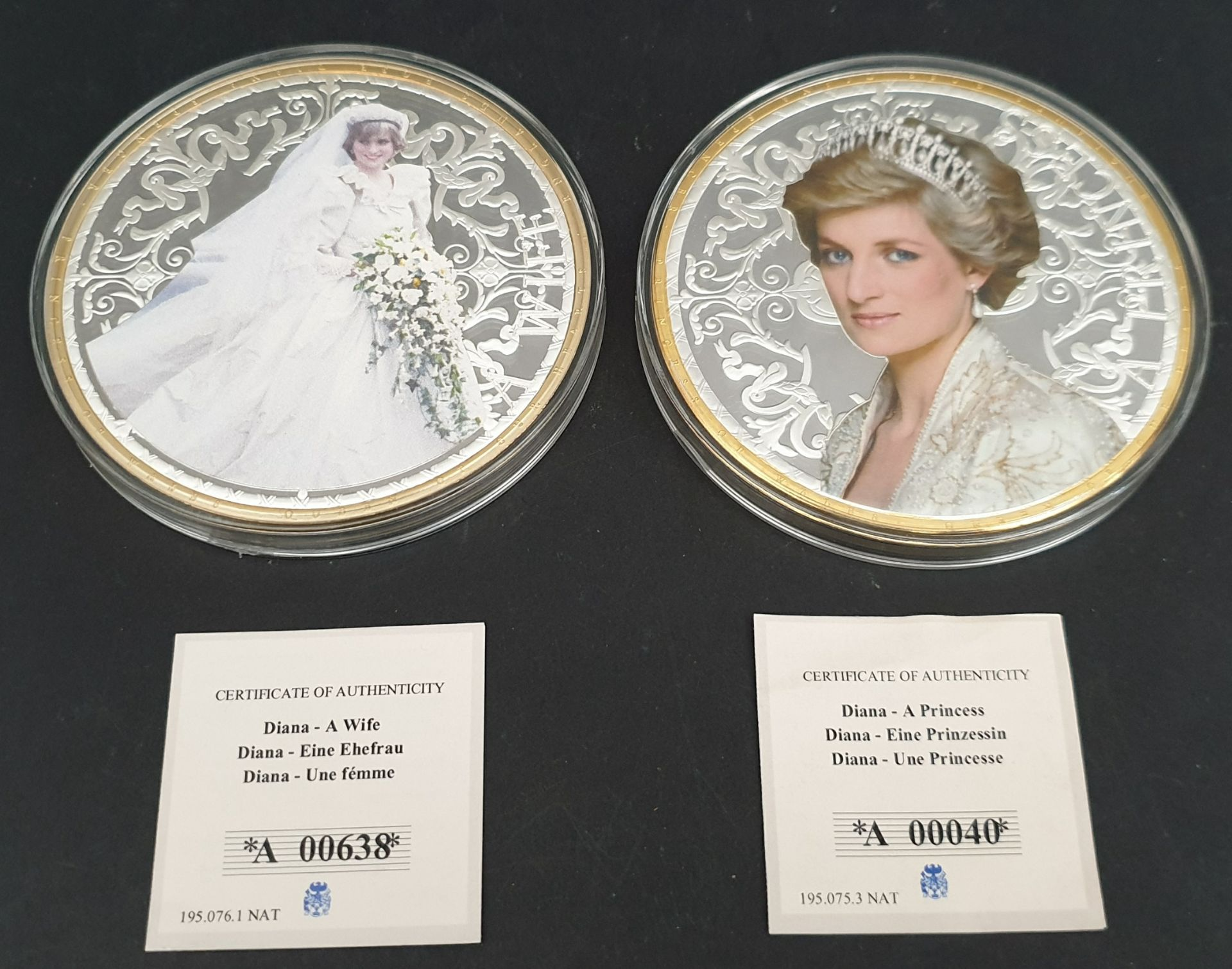 Lot 2 - Collectable Coins 2 x Diana 100mm Coins