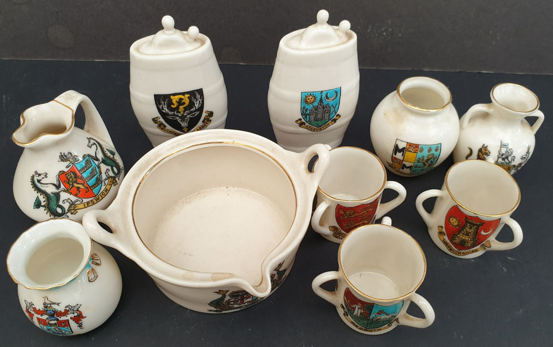 Lot 36 - Antique Parcel 10 Goss Crested Ware Items