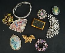Costume Jewellery Brooches & Pill Pots