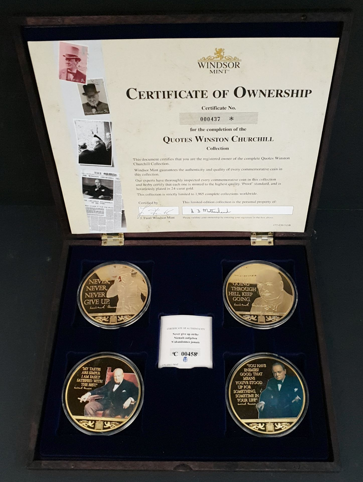 Lot 7 - Collectable Coins Set 4 Quotes of Winston Churchill Commemorative Strike