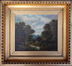 Antique Framed Oil Painting on Canvas Country Scene Signed Vicars