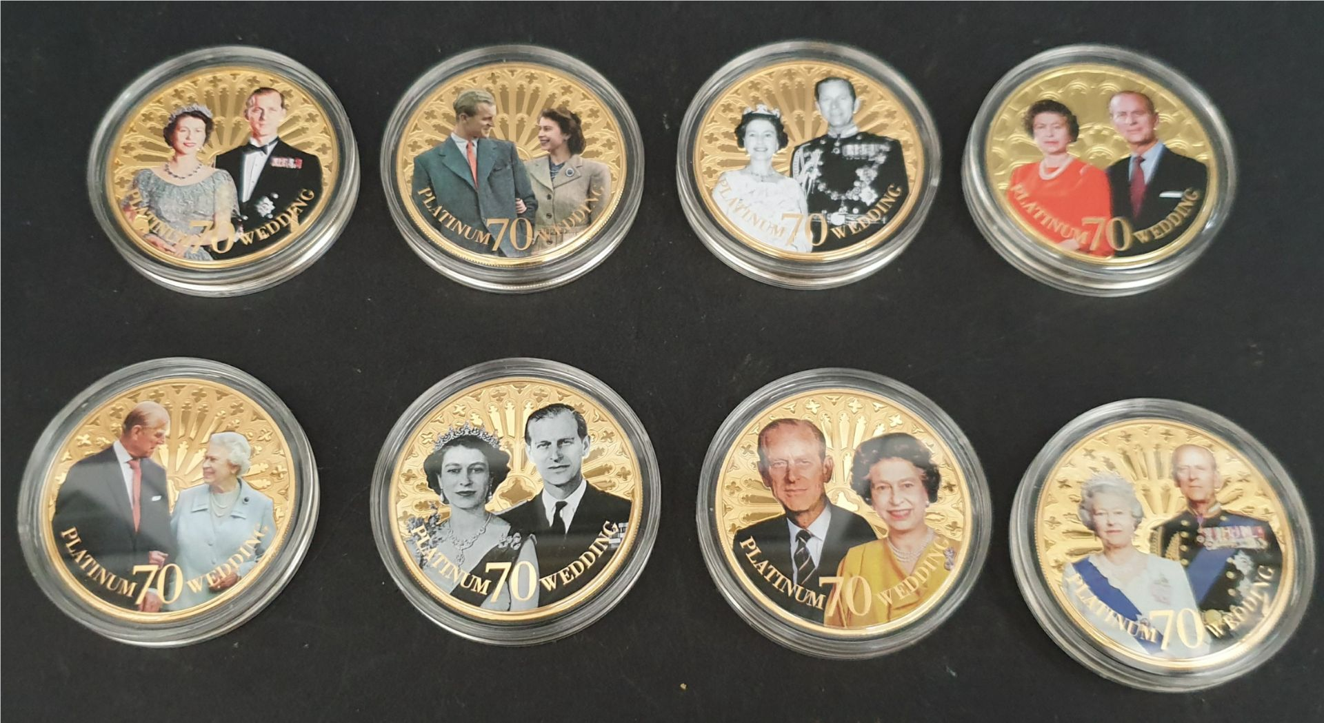 Lot 1 - Collectable Coins 8 x Elizabeth II 70th Wedding Anniversary