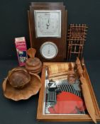 Vintage Parcel Includes Small Mirror Barometer & Treen Items