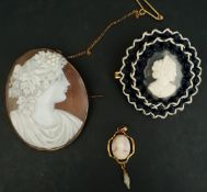 Jewellery 3 x Antique Cameo Brooches