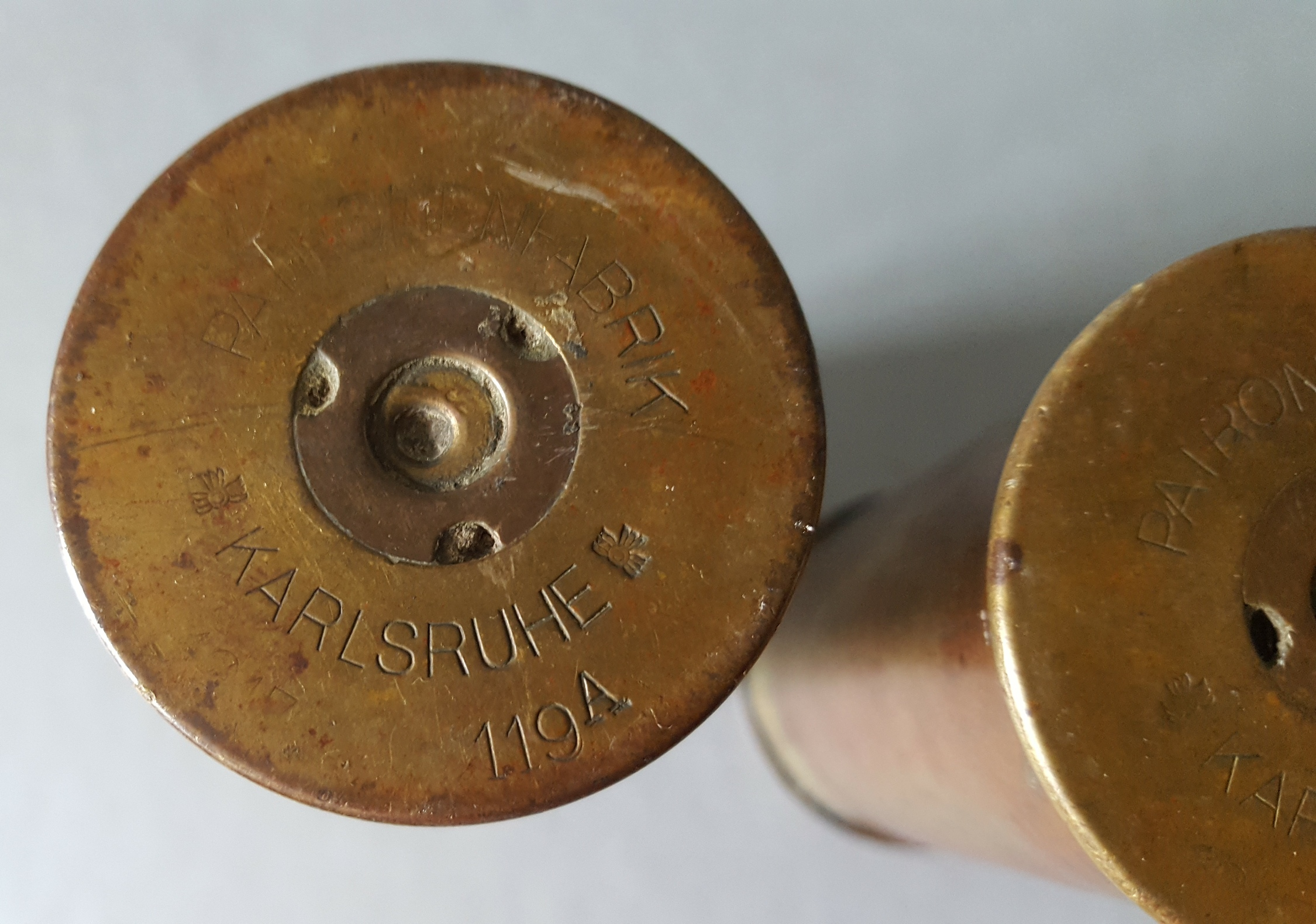 Lot 31 - Antique Military WWI Trench Art Sell Casings German Karlsruhe 37mm Shells.