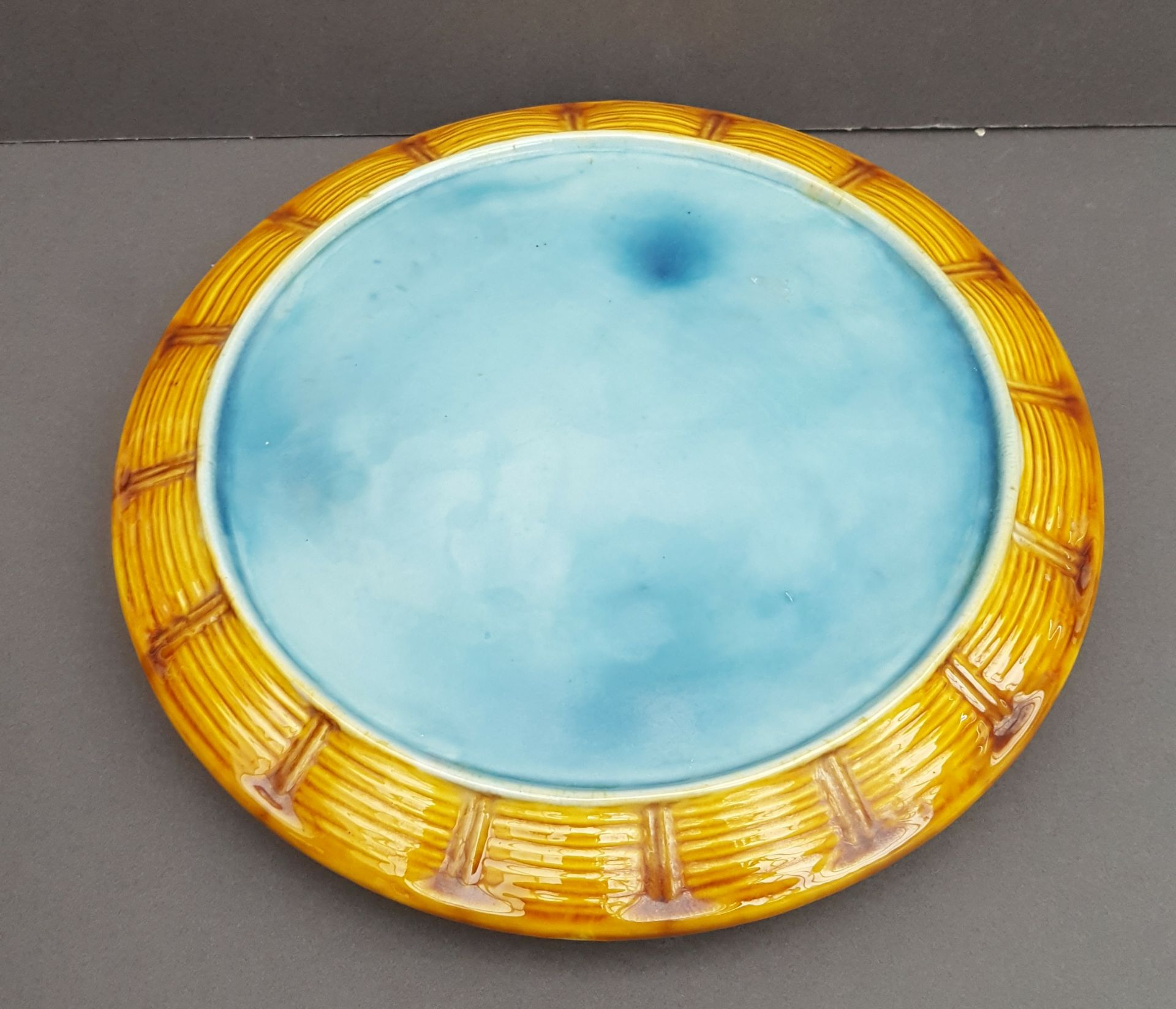 Lot 34 - Antique Large Majolica Cheese Dish