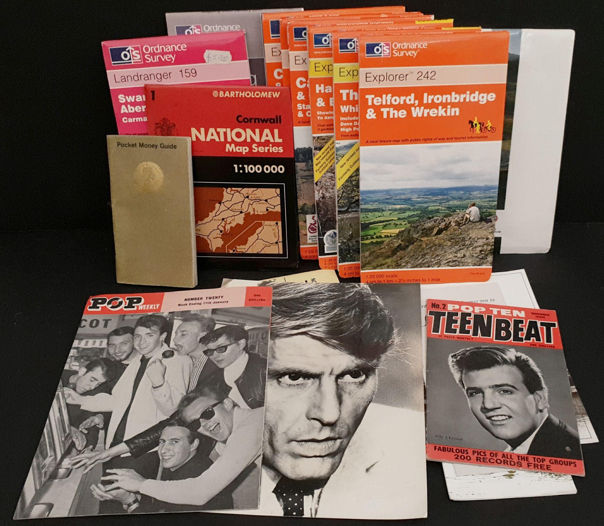 Lot 48 - Vintage Assorted Maps, Pop Magazines & Autographs