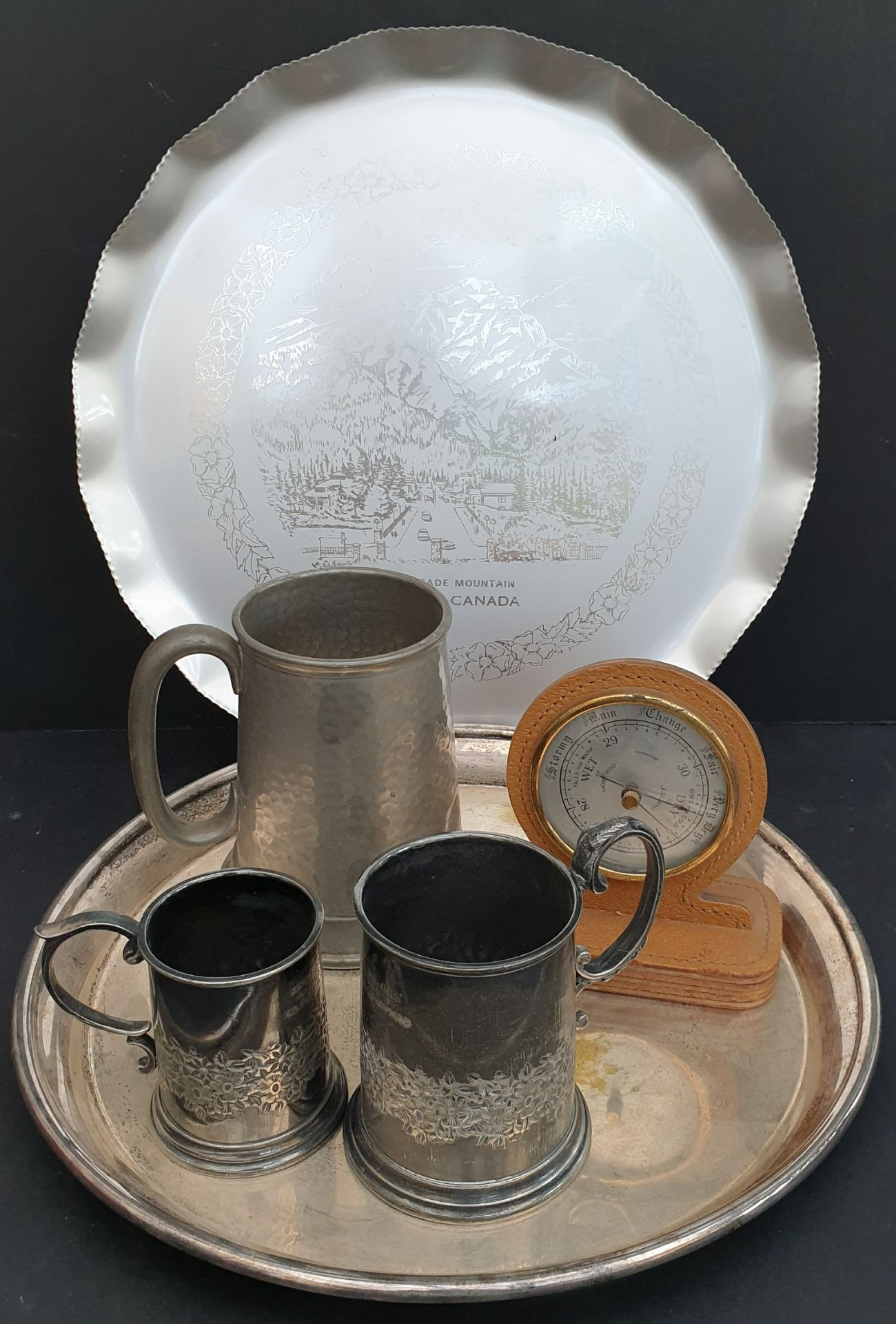 Lot 29 - Antique Vintage Tray of Plated Ware Pewter Ware & Travel Barometer. NO RESERVE