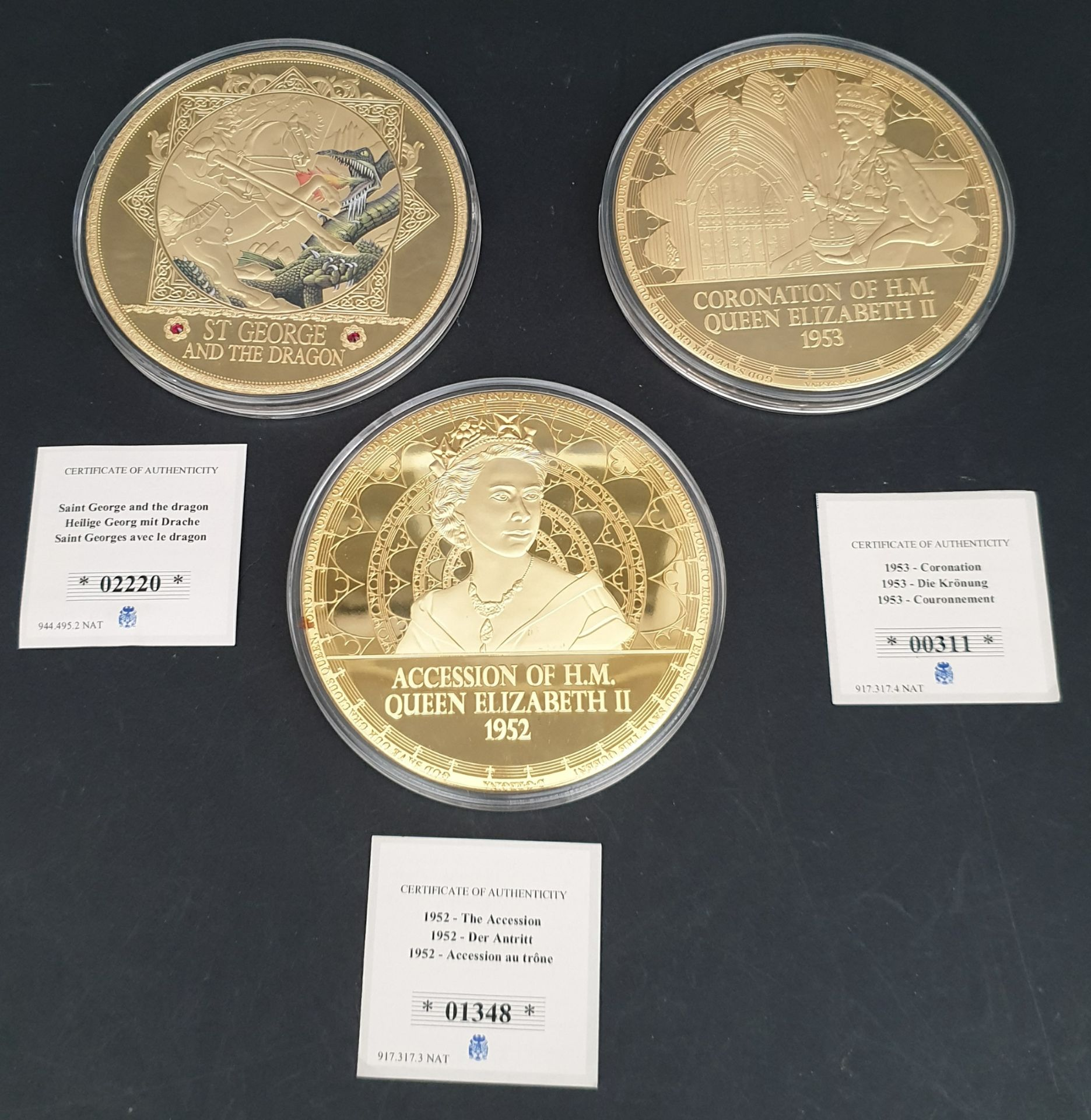 Lot 4 - Collectable Coins 3 x Includes H.M. Queen Elizabeth II 100mm Coins
