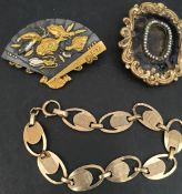 Jewellery 9ct Gold Bracelet & Two Brooches