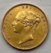Extremely fine 1873 gold half sovereign - die 286 unknown