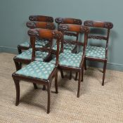 Set of Six 19th Century Double Sabre Leg Mahogany Antique Dining Chairs