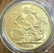 1918 I (Bombay) Gold Sovereign