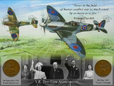 VE Day 75th Anniversary The Spitfire Duo Original WW2 Pennies Metal Sign