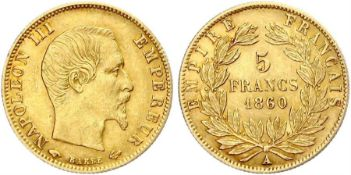 1860 - 5 Francs A - Paris - Solid Gold - Extremely fine