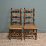 Pair of Fruitwood Antique Ladder Back Chairs