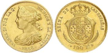100 Reales 1856 - Madrid- extremley fine, brilliant uncirculated