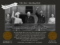VE Day 75th Winston Churchill & Royal Family Balcony Original Pennies Metal Sign