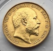 1902 King Edward VII matt proof gold half sovereign