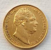 Detailed 1837 King William IV full gold sovereign