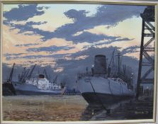 MOORE, LARGE SHIPS DOCKED AT SUNSET, dated 77