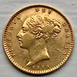 Exceptionally rare 1870 gold half sovereign! 15-25 known examples