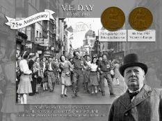 VE Day 75th Anniversary Winston Churchill Quote Original WW2 Pennies Metal Sign
