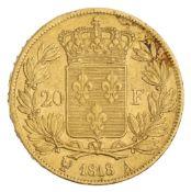 1818 - 20 Francs A - Louis XVIII - Bare head