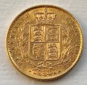 Choice extremely fine + 1871 Queen Victoria full gold sovereign - die 51