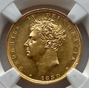 Uncirculated NGC certified 1830 King George IV full gold sovereign