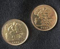 1982 22k Gold Half Sovereigns (2)
